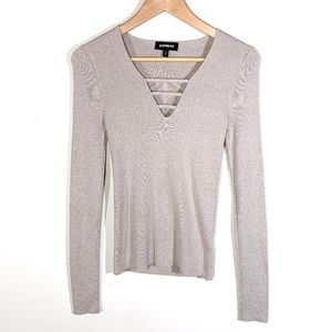 Express | Strappy V-Neck Knit Sweater in Taupe